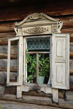 Old Window…with architectural salvage wooden shutters…. Old Window…with architectural salvage wooden shutters…. Vintage Windows, Old Windows, Windows And Doors, Old Cabins, Wooden Shutters, White Shutters, Little Cabin, Window View, Through The Window