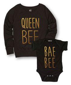 Another great find on #zulily! Black Slouchy Sweatshirt & Bodysuit - Infant & Women #zulilyfinds