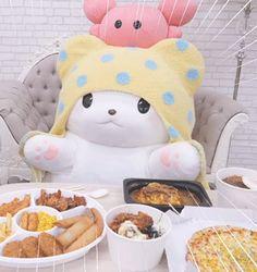 "antiotakus:""☆Moppu's Mukbang"" Pink Aesthetic, Aesthetic Anime, Kawaii Cute, Kawaii Stuff, Anime Gifs, Sanrio Wallpaper, Cartoon Profile Pictures, Cute Stuffed Animals, Cute Friends"