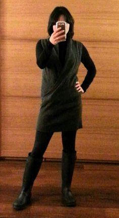 Month 2 - cowlneck wrap-sweater, H&M turtleneck, Kamik rain boots
