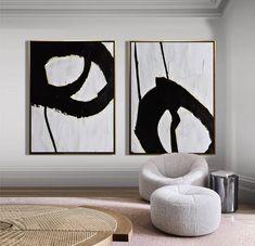 Set of 2 Minimalist Painting on Canvas, Modern Canvas Art, Painting Set of Two, Large Wall Art, Livi