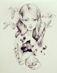 Creepy Girl Drawing ◆◈ Art For Teens ◈◆ beautiful drawings by julie filipenko Drawing Faces, Art Drawings, Drawing Art, Pencil Drawings, Arte Grunge, Pop Surrealism, Beautiful Drawings, Colouring Pages, Coloring