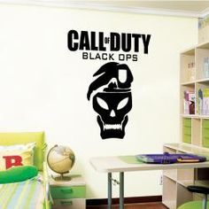 Call of Duty Black Ops wall sticker on a bedroom wall