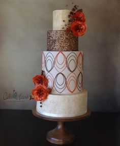 My Autumn inspired Cake Decorating Corner entry. Crackle patina, painted confetti sprinkles, mod geometric pattern, stylized cabbage roses, berries, and filler flowers in the colours of stone, brown and rust. xx