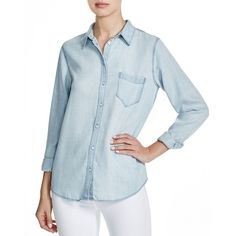 DL1961 Mercer & Spring Chambray Shirt (3,350 MXN) ❤ liked on Polyvore featuring tops, bleach, bleach shirt, dl1961 premium denim, blue chambray shirt, blue shirt and chambray shirt
