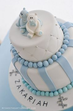 Blue baby boy christening by My Sweethearts Bakery l Lilia, via Flickr