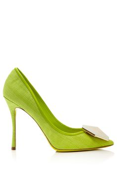 Sage Raffia Hexagon Pump by Nicholas Kirkwdood for Preorder on Moda Operandi