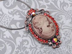 Ruby Red Crystal Vintage Tone Brass Cameo Lady Maiden Pendant Choker Necklace buy at mariescrystals.com