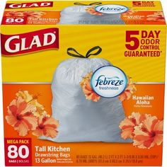 Glad OdorShield Tall Kitchen Drawstring Trash Bags - Febreze Hawaiian Aloha - 13 Gallon - 80 Count * Check out the image by visiting the link. (This is an affiliate link) House Cleaning Tips, Cleaning Hacks, Cleaning Supplies, Kitchen Garbage Bags, Bounty Paper Towels, Bad Room Ideas, House Essentials, Mega Pack, Trash Bag