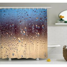 Rain Shower Curtain by Ambesonne, Close Up Rain Drops on Glass Natural Sprays Sphere Contrasting Colors Picture, Fabric Bathroom Decor Set with Hooks, 105 Inches Extra Wide, Blue Tan Brown >>> Check out this great product. (This is an affiliate link) Rustic Shower Curtains, Tree Shower Curtains, Flower Shower Curtain, Shower Curtain Sizes, Striped Shower Curtains, Bathroom Decor Sets, Bath Decor, Seaside Bathroom, Bathroom Ideas