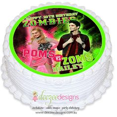 Deezee Designs - Personalised invitations, party printables, edible icing sheets, party supplies and more! Zombie Cakes, Zombie Birthday Cakes, Zombie Birthday Parties, 10 Birthday Cake, Pretty Birthday Cakes, Zombie Party, Disney Birthday, Disney Cake Toppers, Disney Cakes