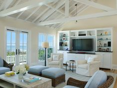 Vaulted ceiling for heat to rise. Coastal Living Rooms, Residential Design, House, Living Room, Lake Cottage, Painted Bunting, Home, Vero Beach, Home Decor