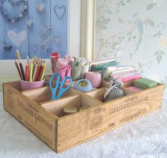 Craft box from Baxter and Snow - recycled wooden wine boxes