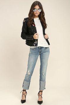 Blank NYC Deep Cuff Straight - Medium Wash Jeans - Distressed Jeans - $98.00