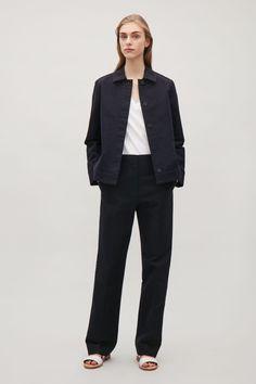 COS image 1 of Boxy twill jacket in Dark Navy