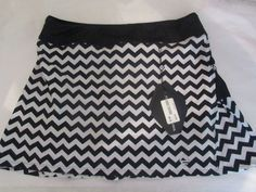 AdEdge Performance Sz LG Tennis Skort NWT Black White Chevron Back Pleats #AdEdge #SkirtsSkortsDresses