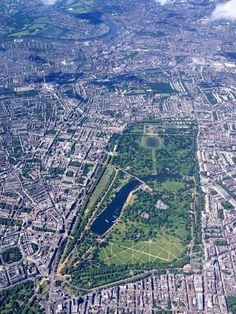 U.K. Hyde Park from a helicopter, London