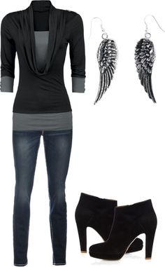 """black and fancy"" by karlibugg on Polyvore - Nice and casual! Boots kick it up a notch :)"
