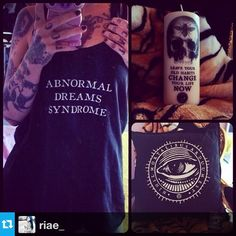 Riae Suicide with our Magic Healing Candle, Mysitic eye Pillow & Abnormal Dreams Balck tank top <3  www.coreterno.com