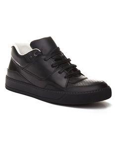 LANVIN LANVIN MEN'S LEATHER MID-TOP SNEAKER SHOES BLACK. #lanvin #shoes #