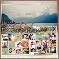 #papercraft #scrapbook #layout   Let's Go!Love the Large photo on top half of the page and little related square photos on bottom!