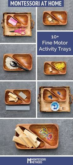 Doing Montessori preschool at home? 10 DIY fine motor activity trays for your practical life shelves. Montessori Trays, Montessori Playroom, Montessori Homeschool, Montessori Toddler, Montessori Materials, Montessori Activities, Motor Activities, Toddler Activities, Montessori Practical Life