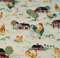 I love this rooster/chicken fabric. This would make some really nice valances for your kitchen don't you think?