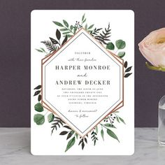 """Shade Garden"" - Foil-pressed Wedding Invitations in Ink by Robin Ott."