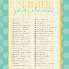 Document summer memories with the printable summer photo checklist.