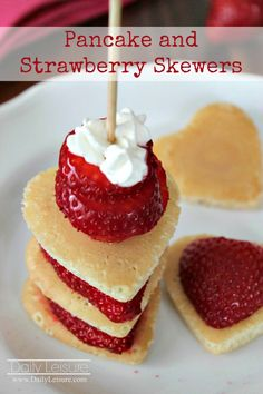 Here's a sweet breakfast for your sweetheart! Make pancake and strawberry skewers! These are great for a special birthday treat, Valentine's Day, anniversary, and just to brighten their day! You'll need strawberries, pancake ingredients (flour, sugar, baking powder, salt, egg, milk, and vegetable oil), and homemade whipped cream ingredients (heavy whipping cream and sugar). Wash …