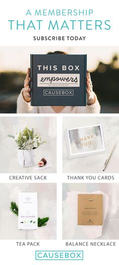 Receive a limited curation of beautiful and useful products from socially conscious brands when you subscribe to CAUSEBOX. Boxes are delivered seasonally and are filled with at least $150 in value. Annual subscriptions are just $49.95 per quarter. Subscribe today and do good while getting good.