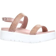 Carvela Kryptic Flatform Sandals , Nude ($89) ❤ liked on Polyvore featuring shoes, sandals, nude, leather sandals, flat sandals, chunky-heel sandals, strappy flat sandals and mid-heel sandals