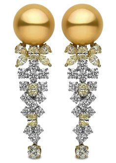 Yoko London Earrings with South Sea pearls and white and yellow diamonds.