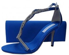 Bernice Royal Blue Evening Sandals Reduced £45