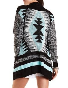 Open Front Aztec Cardigan Sweater  #charlotterusse #charlottelook