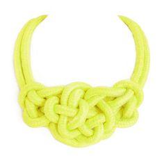 Collar de cuerda con nudos amarillo neón - Makedoonia
