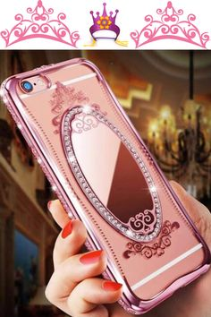 Use your iPhone in elegance! This case is loaded with rhinestones, has a beautiful shatter-proof acrylic princess  mirror and will look incredible on your phone!  Get yours Caseopolis.com/princess