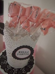 Chocolate lollipops at a Pink Bow Birthday #pink #party