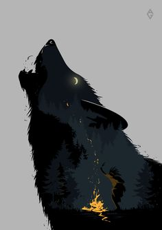 This fantasy Art shows you a wolf Artwork Lobo, Wolf Artwork, Art Noir, Werewolf Art, Wolf Wallpaper, Drawing Wallpaper, Arte Obscura, Wolf Spirit, Anime Wolf