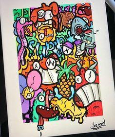 Cute Doodle Art, Cool Doodles, Doodle Art Designs, Doodle Art Drawing, Graffiti Doodles, Graffiti Wall Art, Graffiti Drawing, Trippy Drawings, Art Drawings Sketches