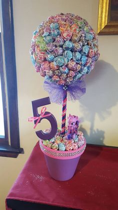 My little Pony inspired Dum Dum Topiary by MomentsbyAnabella Dum, Inspired, MomentsbyAnabella, Pony, Topiary My Little Pony Birthday Party, Trolls Birthday Party, Unicorn Birthday Parties, Unicorn Party, Birthday Party Themes, Birthday Ideas, 5th Birthday, Birthday Party Centerpieces, Troll Party