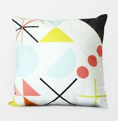 Coveted goods and homewares by Julia Kostreva. Julia Kostreva is an Independent Designer in San Francisco, California, USA. Notebooks and Planners printed in the USA. Pillow Texture, Textiles, Geometric Pillow, Hand Painted Ceramics, Cool Patterns, Interiores Design, Soft Furnishings, Pillow Design, Textile Art