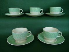 Burleigh Balmoral - Art Deco 1920 s - Green - 5 Coffee (or Tea) Cups & Saucers