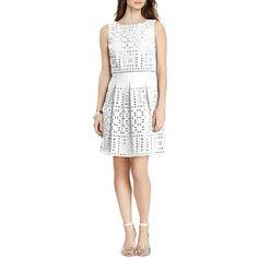 Lauren Ralph Lauren Cotton Eyelet Dress ($169) ❤ liked on Polyvore featuring dresses, white, pleated dress, day to night dresses, crop dress, white dress and lauren ralph lauren