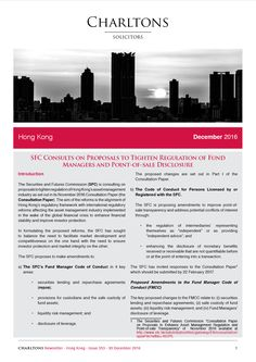 Hong Kong Law Newsletter - 30 December 2016 - SFC Consults on Proposals to Tighten Regulation of Fund Managers and Point-of-sale Disclosure