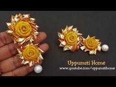How To Make Designer Yellow Rose Gota Earrings At Home Silk Thread Bangles Design, Silk Thread Earrings, Thread Jewellery, Paper Jewelry, Fabric Jewelry, Flower Jewelry, Handmade Jewellery, Diy Jewelry, Gemstone Jewelry