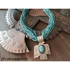 Aztec Turquoise Thunderbird Statement Necklace Boho aztec turquoise hammered silver thunderbird, seed bead necklace earring set, Synthetic costume jewelry.  No Trades, Price Firm unless Bundled.  BUNDLE 3 OR MORE ITEMS FOR 15 % OFF. Boutique Jewelry Necklaces