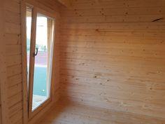 New upgraded cabin doors and windows for 2019 Corner Summer House, Summer House Garden, Log Cabin Holidays, Wooden Lodges, Garden Log Cabins, Wooden Double Doors, Roofing Options, Cabin Doors, Sauna Room