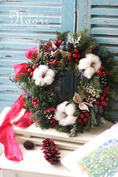 Christmas wreath 2014 クリスマスリース コットンと星、赤いベリー
