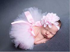 Newborn Headdress flower+Tutu Clothes Skirt Baby Girls Photo Prop Outfits E1& #Handmade